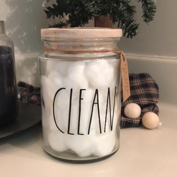 Rae Dunn CLEAN Cotton Balls Jar